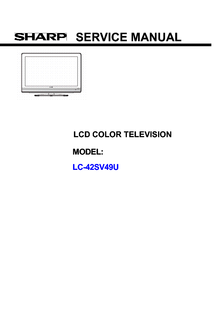 Sharp Lc 42sb45u Service Manual
