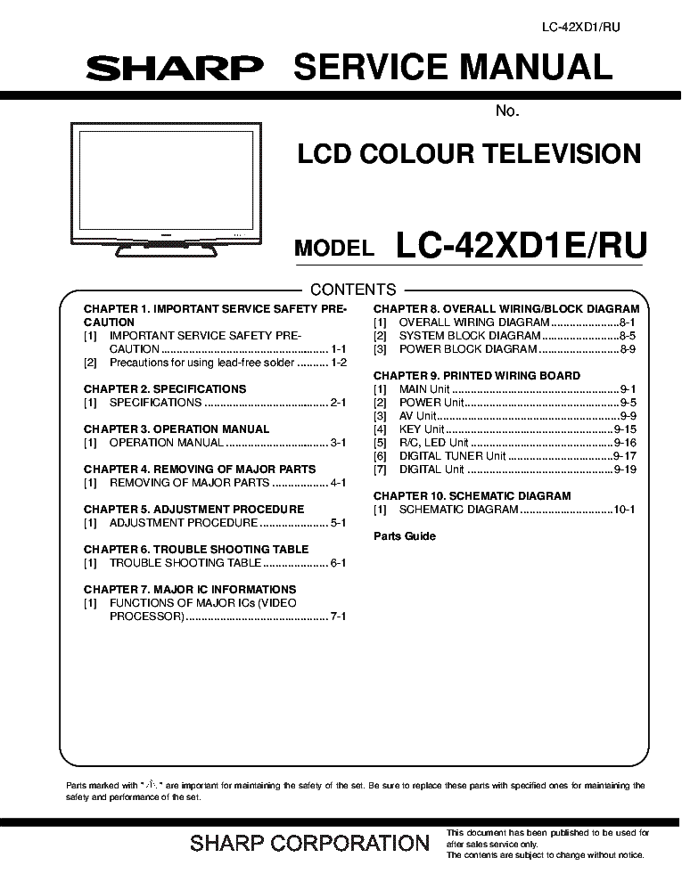 Sharp Lc 42xd1e Ru Sm Service Manual Download Schematics Eeprom Repair Info For Electronics Experts