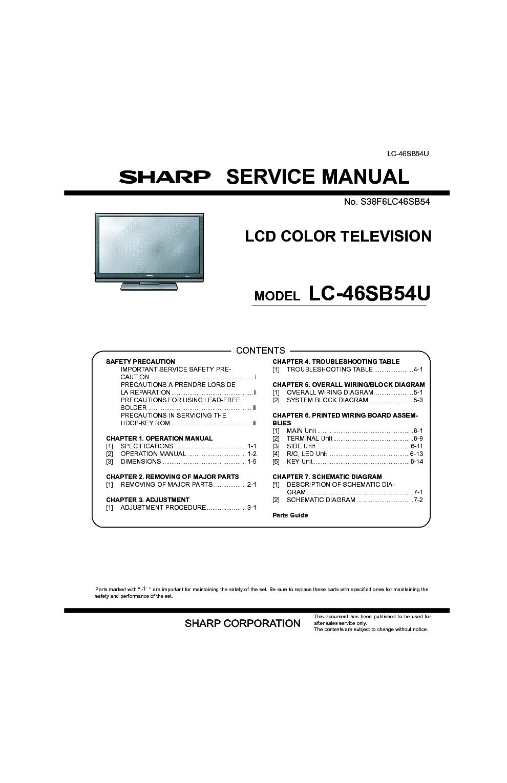 sharp lc 46sb54u sm service manual download schematics eeprom rh elektrotanya com