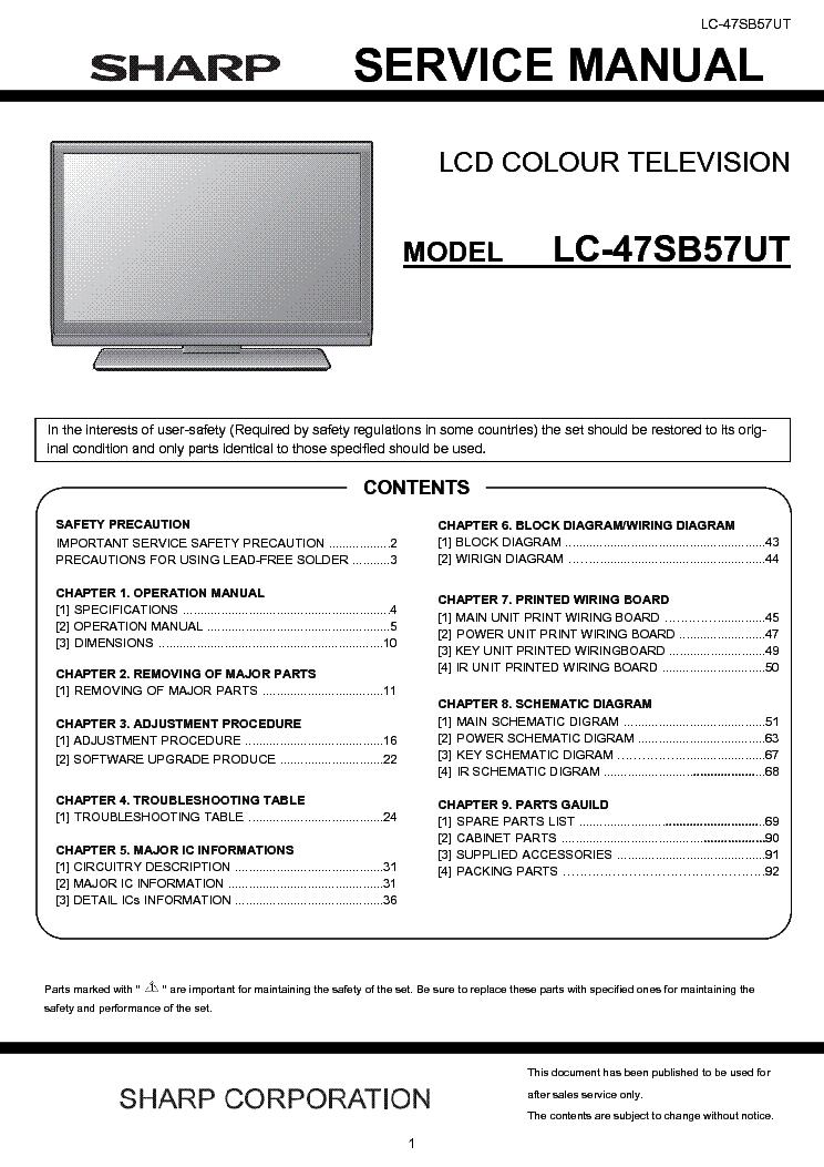 SHARP LC-47SB57UT Service Manual download, schematics