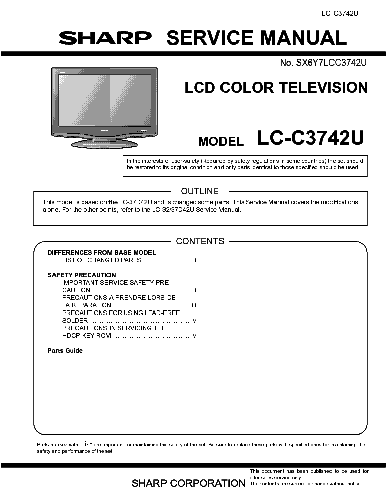 Tv And Sharp And Service And Manual Download