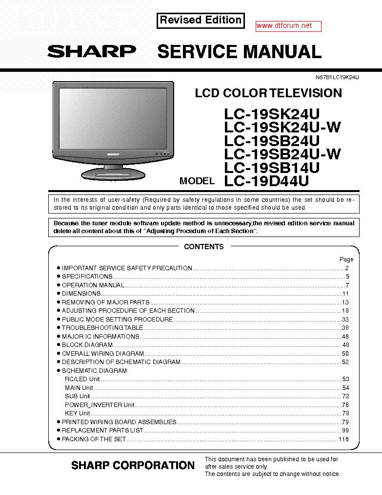 Sharp Lc 20s5u Lcd Tv Service Manual Disc Drivers Windows Vista Block Diagram Pdf 7961mb Download