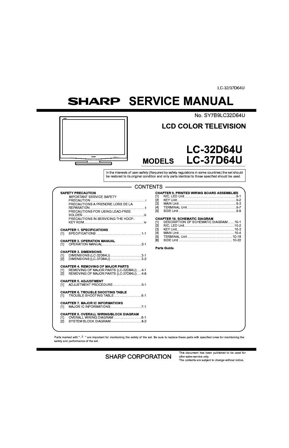 sharp lc32d64u sm service manual download schematics eeprom rh elektrotanya com sharp lc-32d64u manual sharp aquos lc-32d64u manual