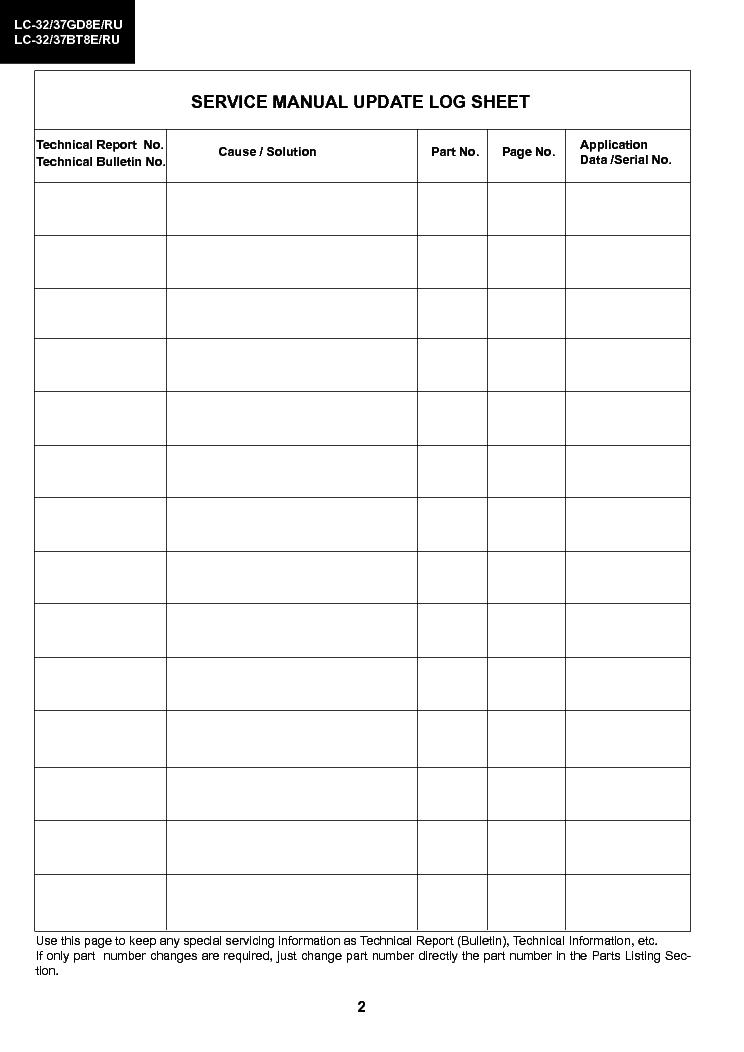 Sharp Lc32gdb Lcd Service Manual Download  Schematics