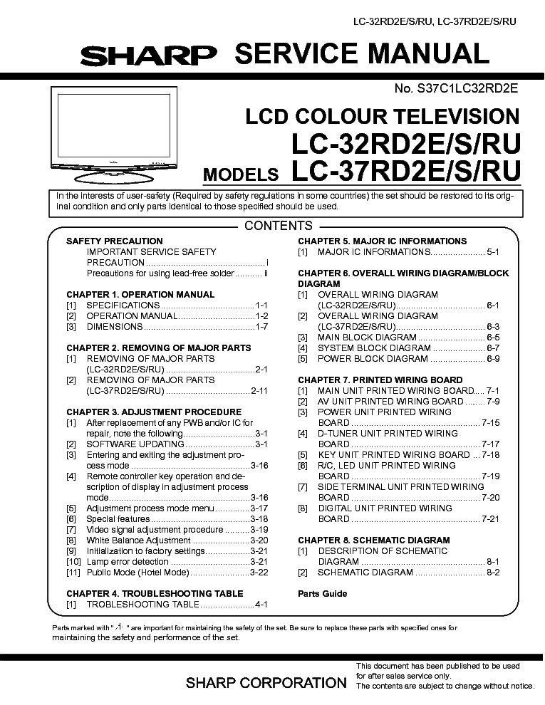 Sharp Lc32rd2e Lcd Tv Sm Service Manual Download  Schematics  Eeprom  Repair Info For