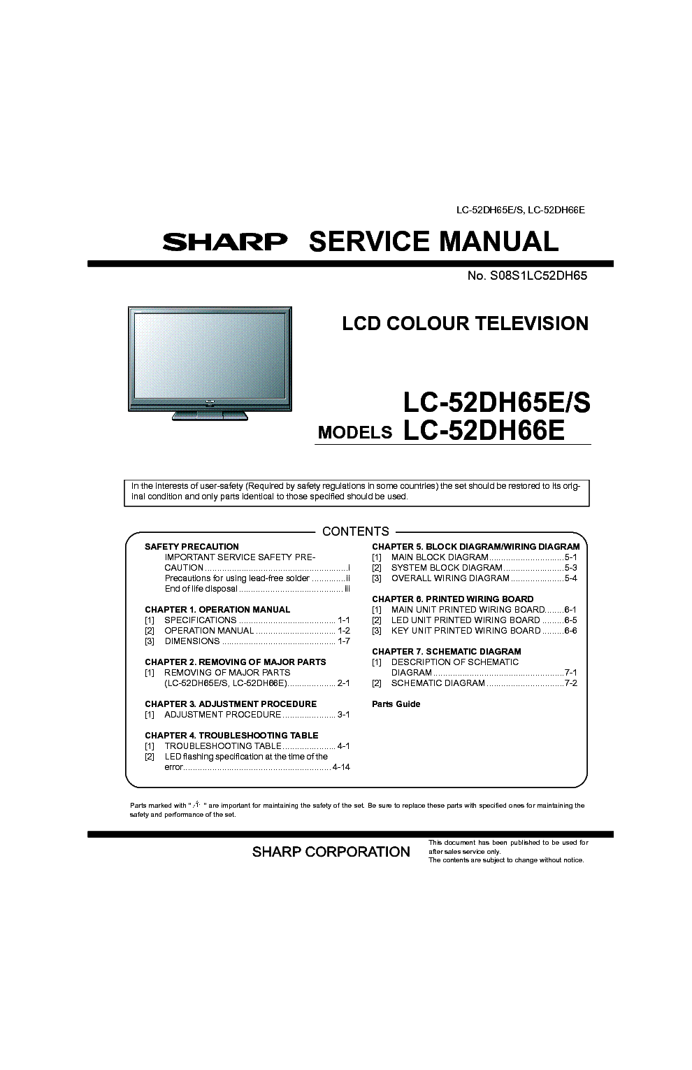 SHARP LC52DH65E LCD TV SM service manual