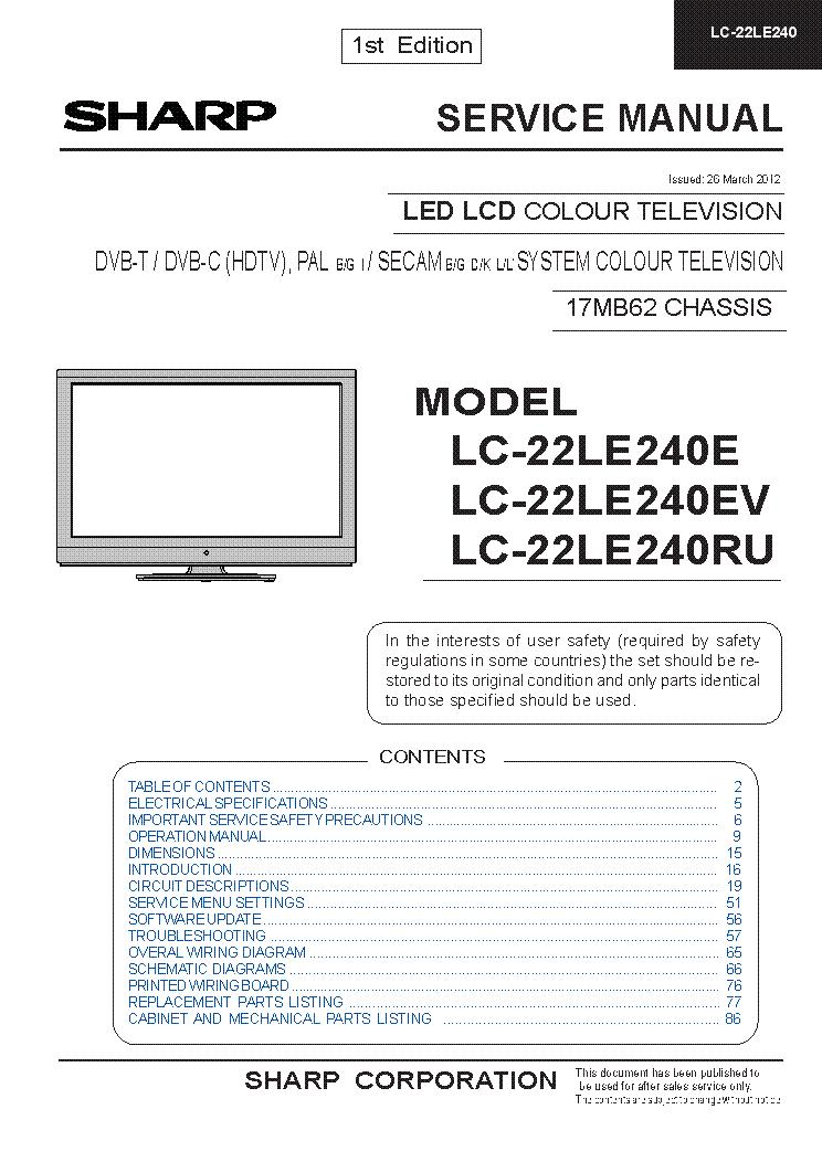 SHARP LC 22LE240 Service Manual download, schematics, eeprom, repair