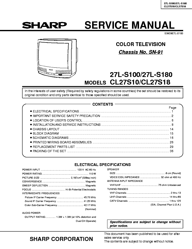 SHARP SN91 CHASSIS 27LS100 service manual (1st page)