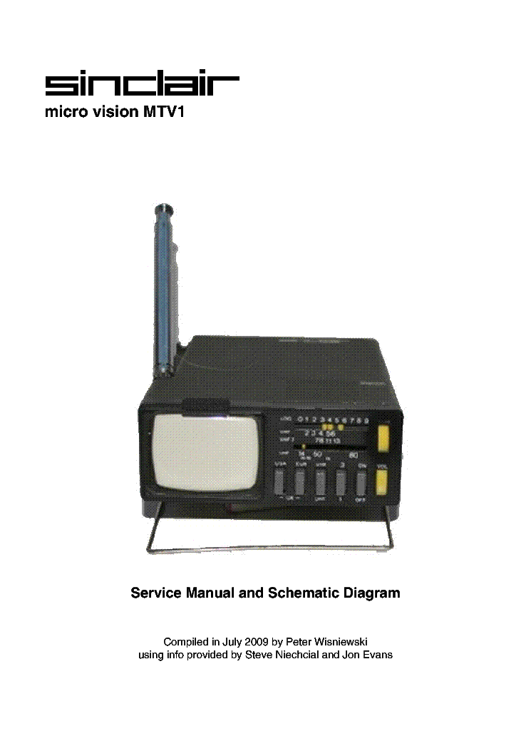 SINCLAIR MICRO-VISION MTV1 service manual (1st page)