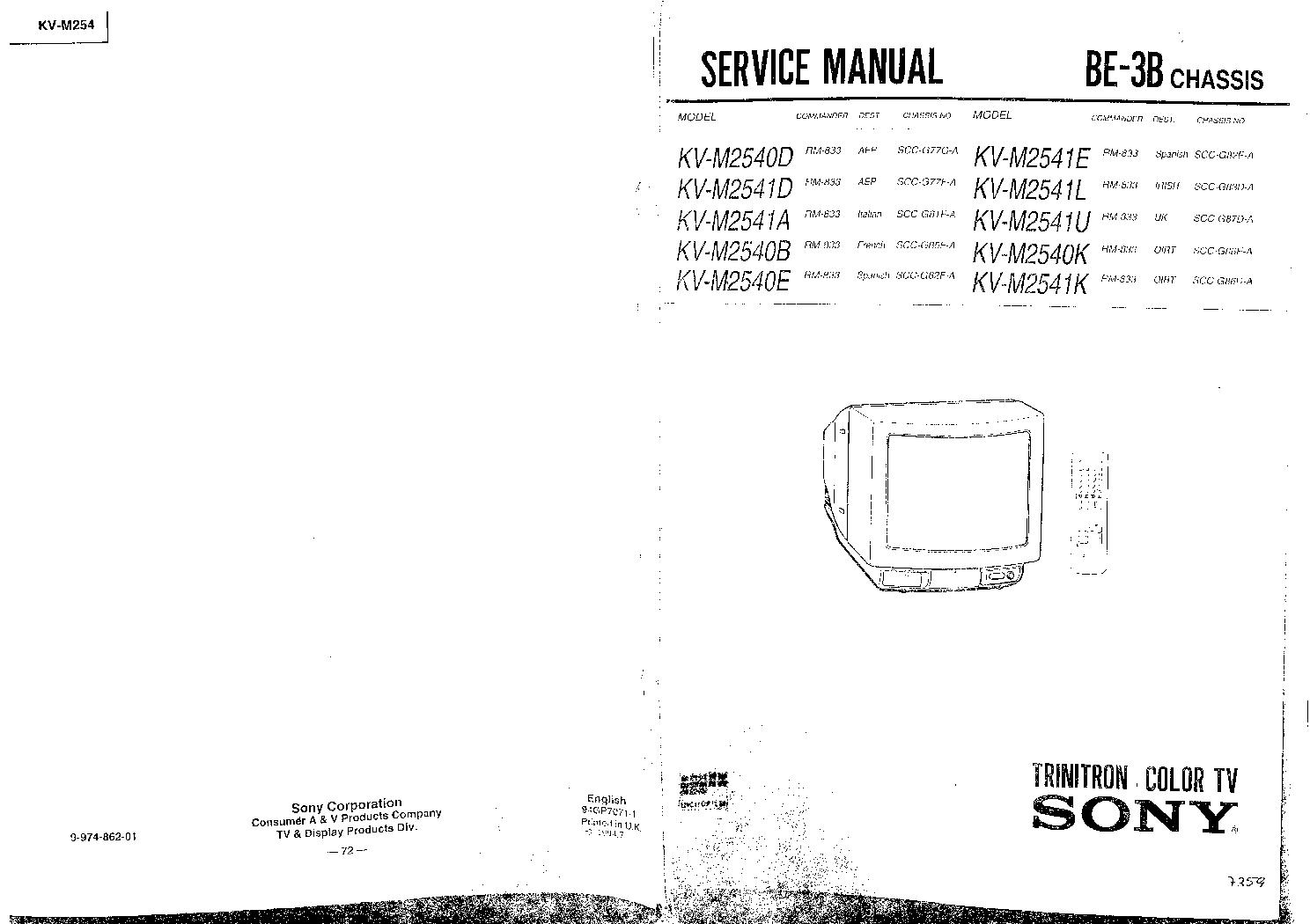 sony kv-m2101k kv-m2100k инструкция по применению
