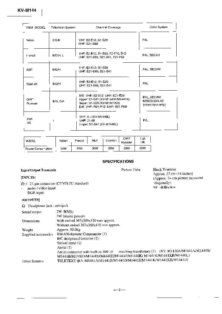 SONY BE-4 service manual (2nd page)