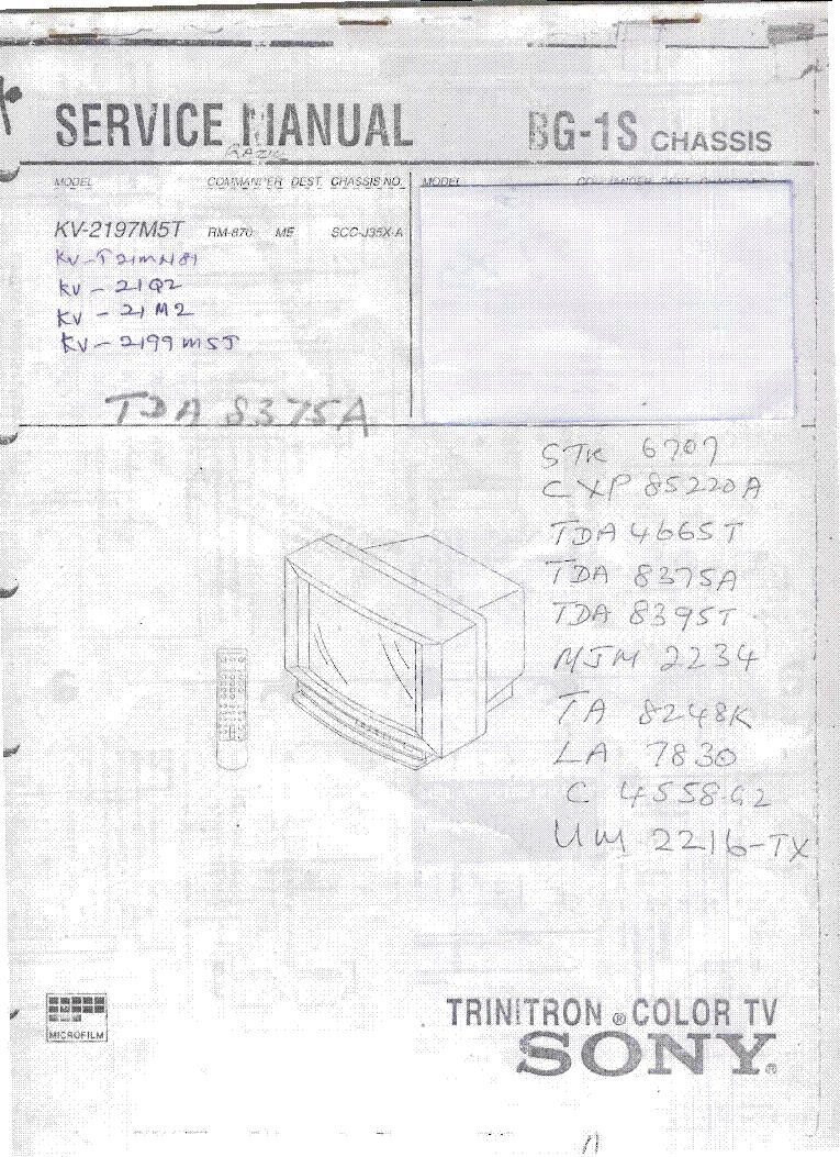 Sony Kv G14q2s Kv 21q2 Kv M2 Kv2199mst Kvt21mn Ch Bg 1s