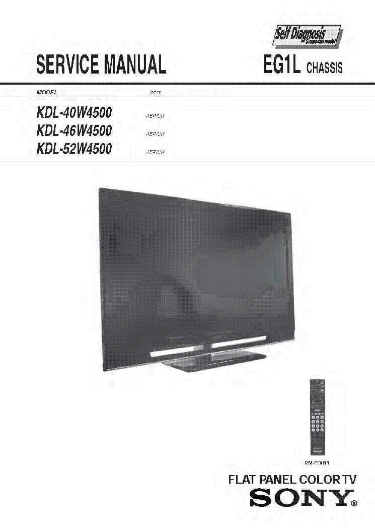 Sony Bravia Kdl 40w4500 Chassis Eg1l Service Manual
