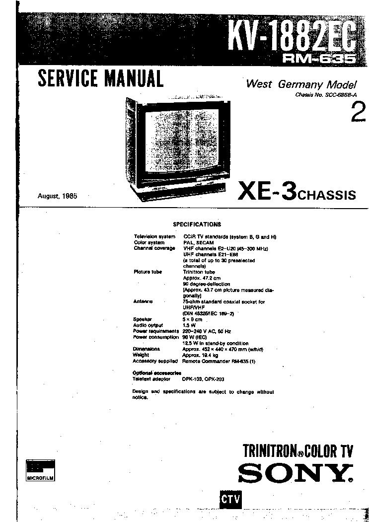 SONY CH XE3 KV-1882EC SM Service Manual free download, schematics ...