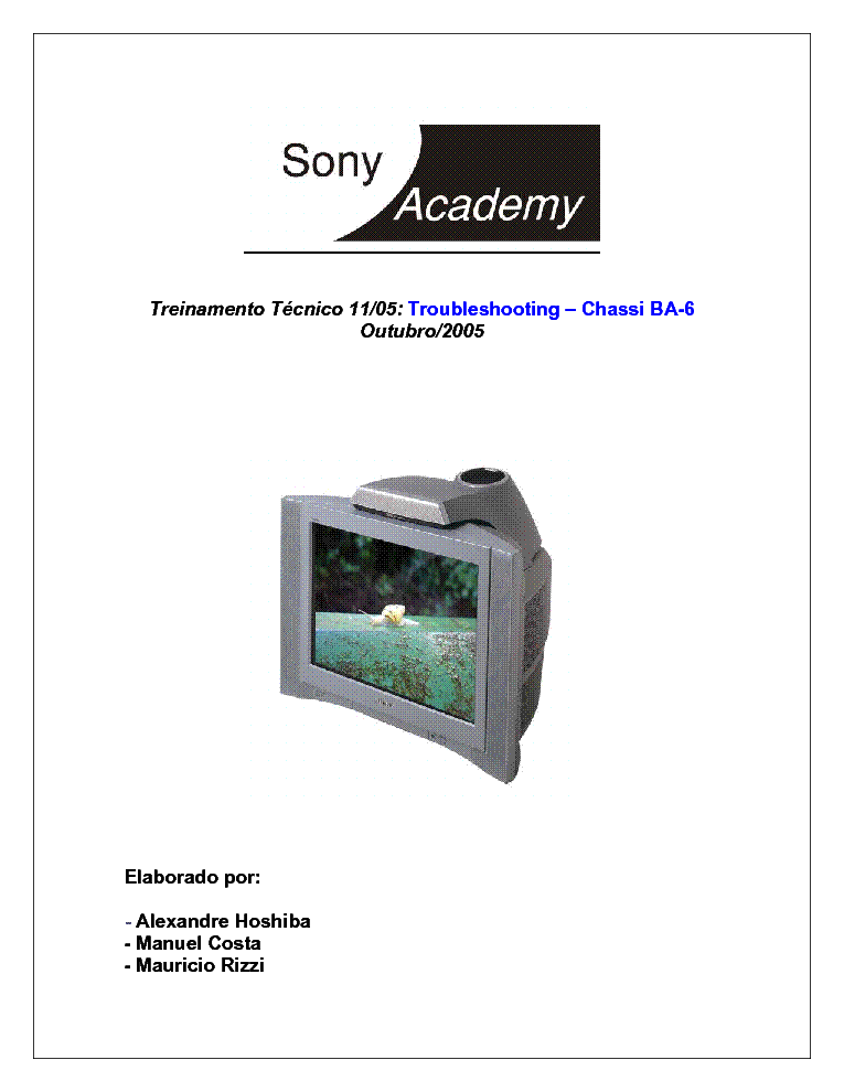 SONY CHASSIS BA-6 TRAINING MANUAL service manual (1st page)