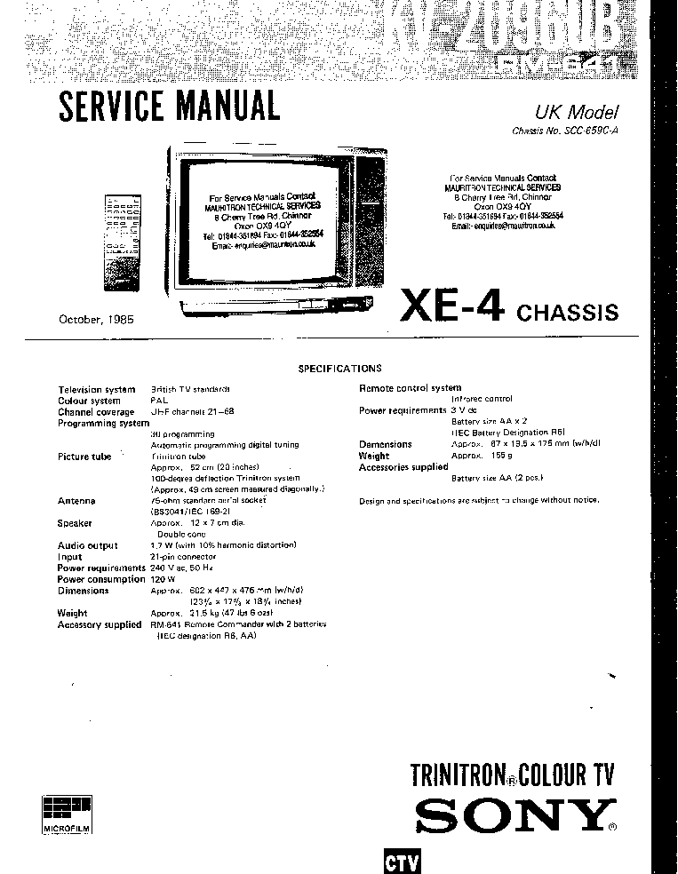 SONY CHASSIS XE-4 KV-2096UB Service Manual free download ...