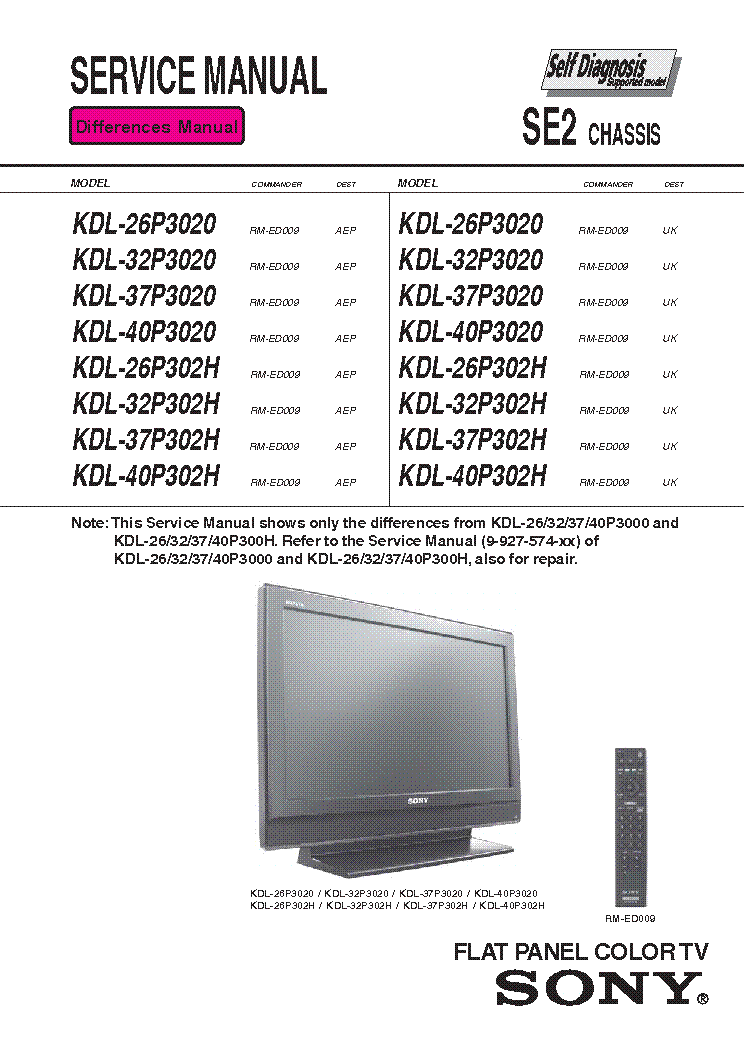 Sony Kdl 26 32 37 40 P3000 P300h Chassis Se2 Service Manual Download Schematics Eeprom Repair Info For Electronics Experts