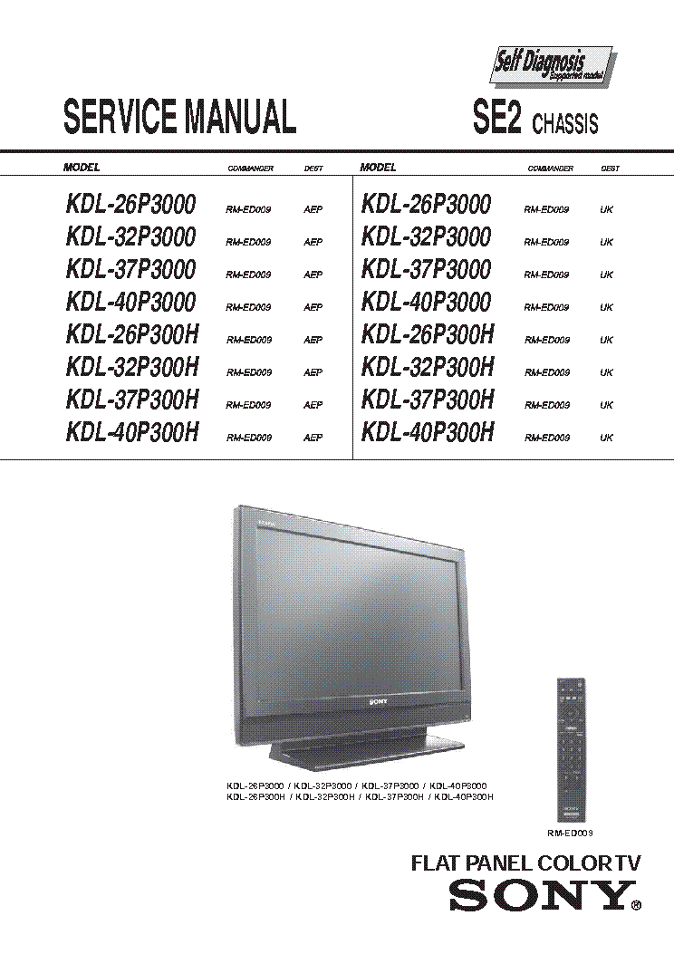 Sony Kdl 26 32 37 40p3000 P300h Chassis Se2 Sm Service Manual Download Schematics Eeprom Repair Info For Electronics Experts