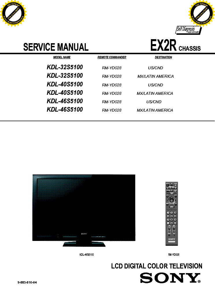 Sony Kdl 32s5100 Kdl 40s5100 Kdl 46s5100 Chassis Ex2r Sm Service Manual Download Schematics Eeprom Repair Info For Electronics Experts