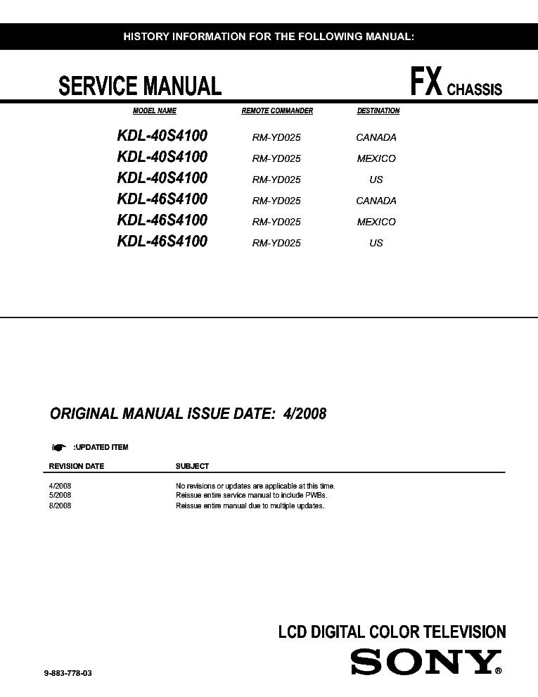 sony kdl 40s4100 46s4100 chassis fx sm service manual download rh elektrotanya com Sony KDL 70R550a sony kdl-40s4100 service manual