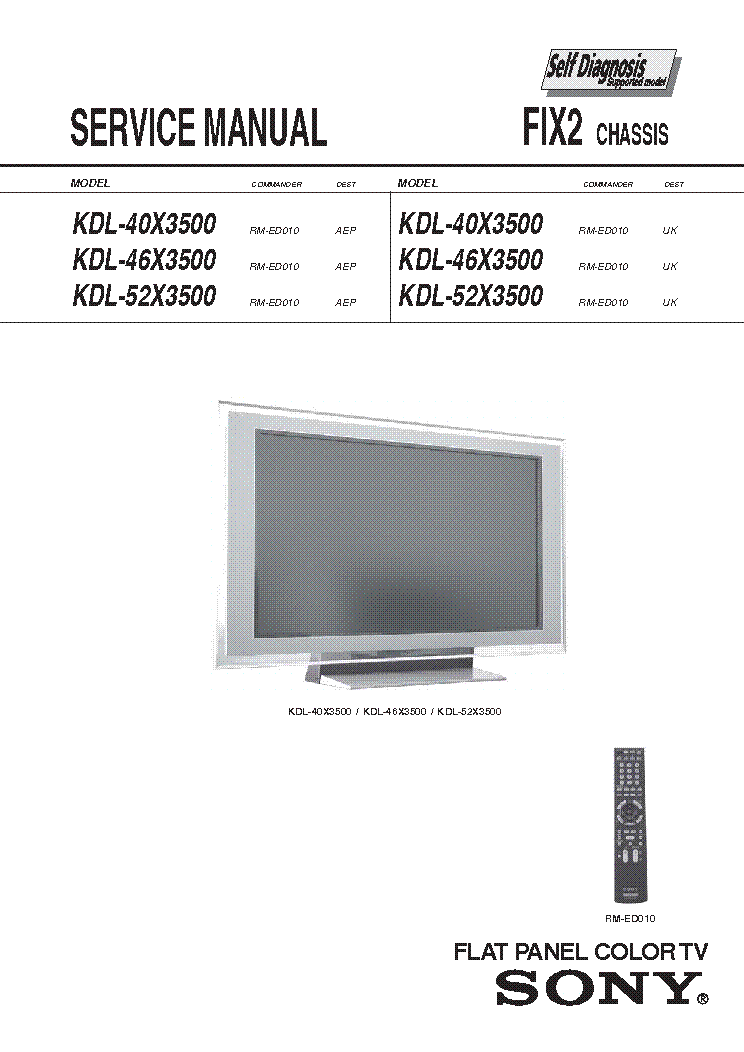 Sony Kdl 40x3500 Kdl 46x3500 Kdl 52x3500 Chassis Fix2 Service Manual Download Schematics Eeprom Repair Info For Electronics Experts
