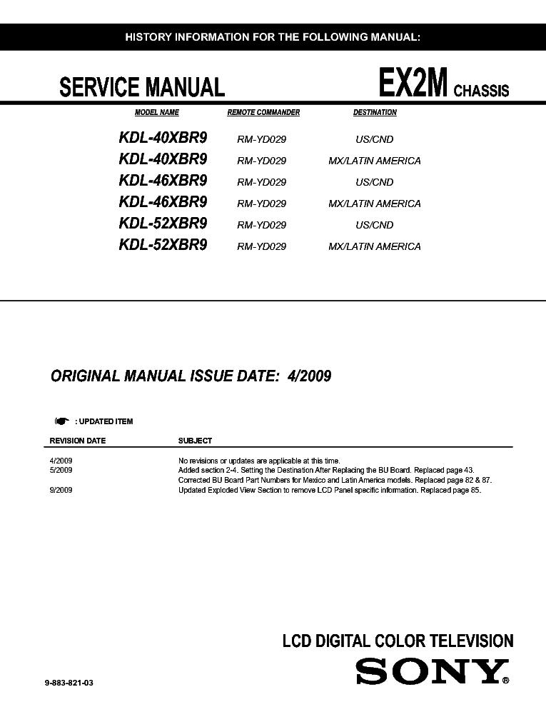 Sony kdl46xbr9 manual.