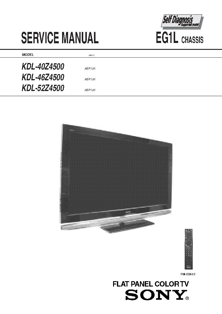 SONY KDL-40Z4500 KDL-46Z4500 KDL-52Z4500 CHASSIS EG1L VER