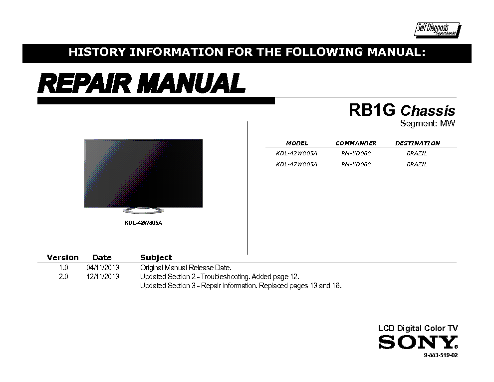 sony kdl 42 kdl 47w805a chassis rb1g repair manual service manual rh elektrotanya com sony tv repair manual pdf sony wega tv repair manual