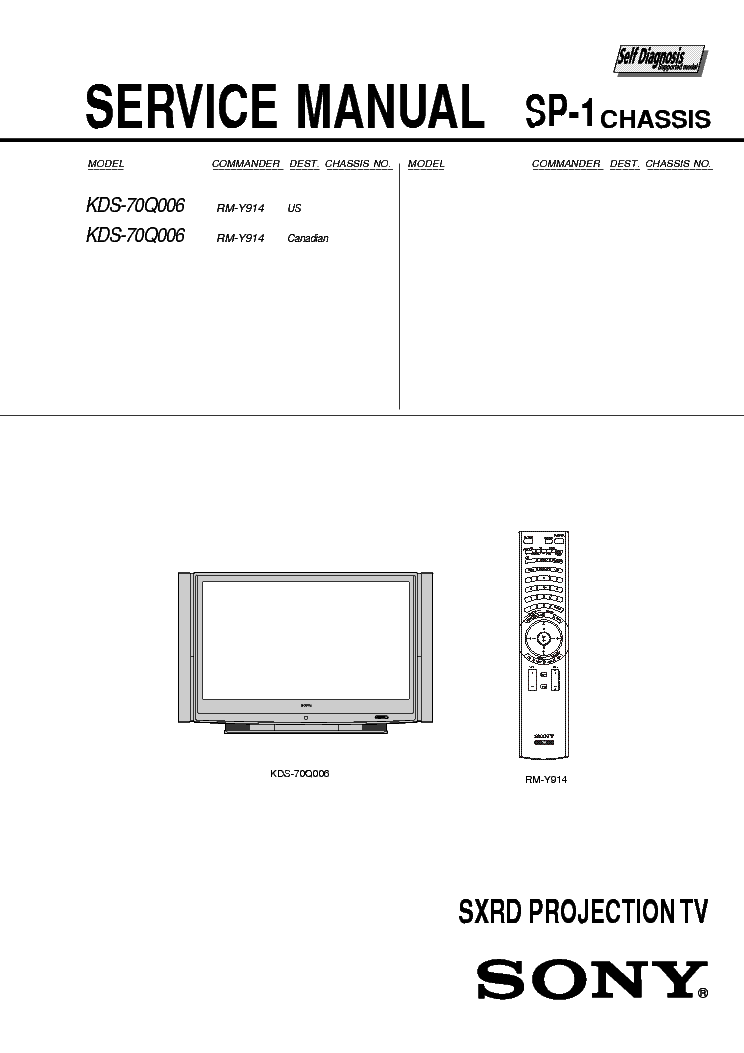 SONY KDS-70Q006 CHASSIS SP-1 SM service manual.  Click on the link for free download!