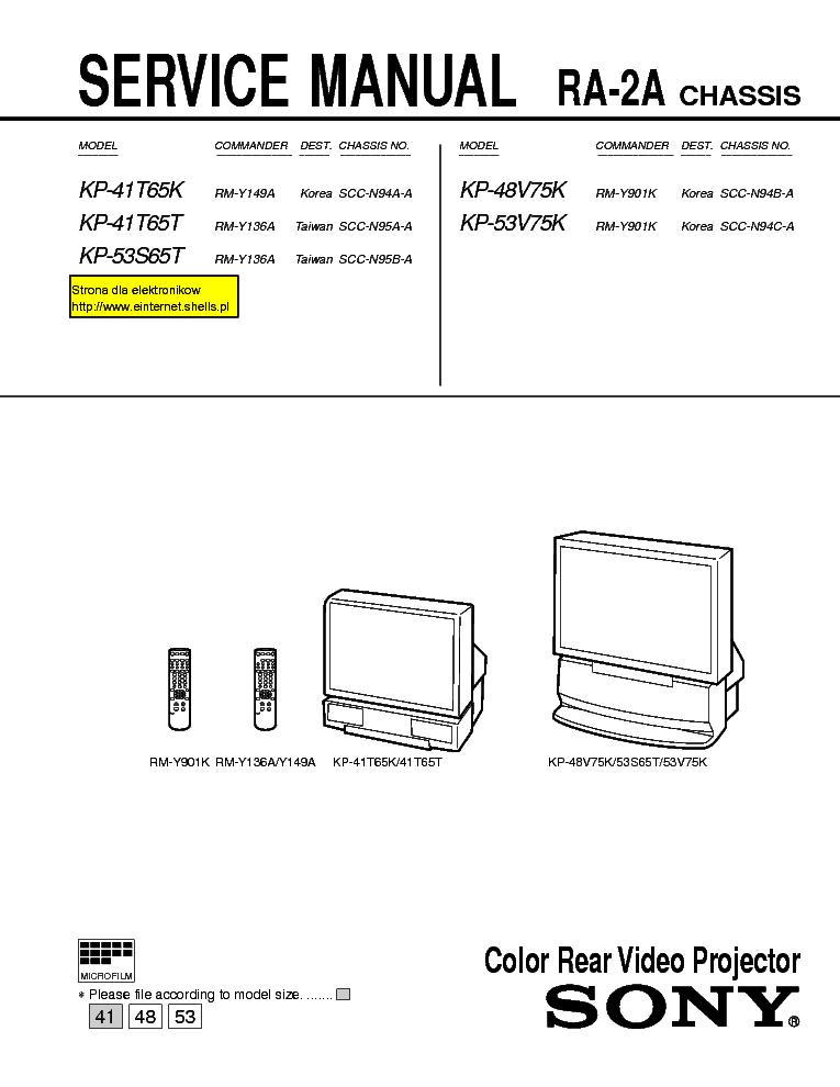 sony kp 41t65 ra 2a chassis service manual download schematics rh elektrotanya com Sony DVD Recorder User Manual Samsung Remote Control Manual