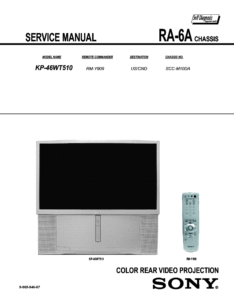 SONY KP-46WT510 CH RA-6A SM service manual (2nd page)