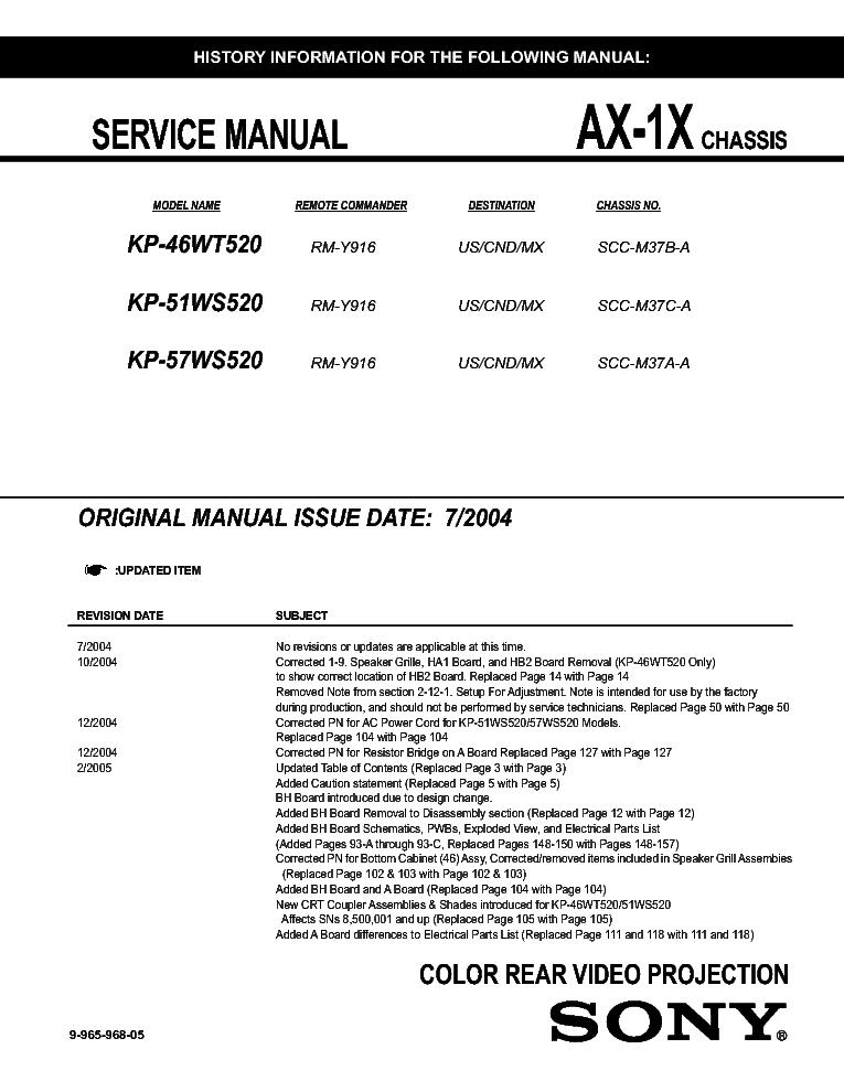 sony kp 46wt520 51ws520 57ws520 chassis ax 1x sm 3 service manual rh elektrotanya com Parts Manual Service Station