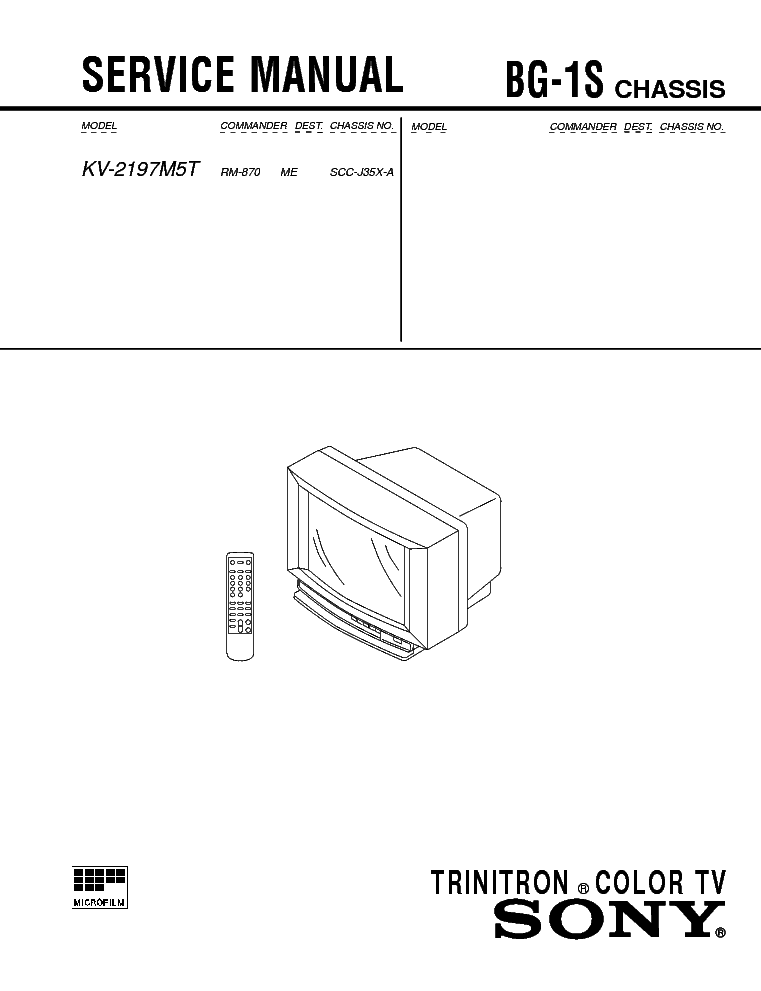 SONY KV-2197M5T CHASSIS BG-1S Service Manual download
