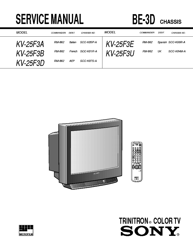 Схема телевизора Sony BE-3D chassis.
