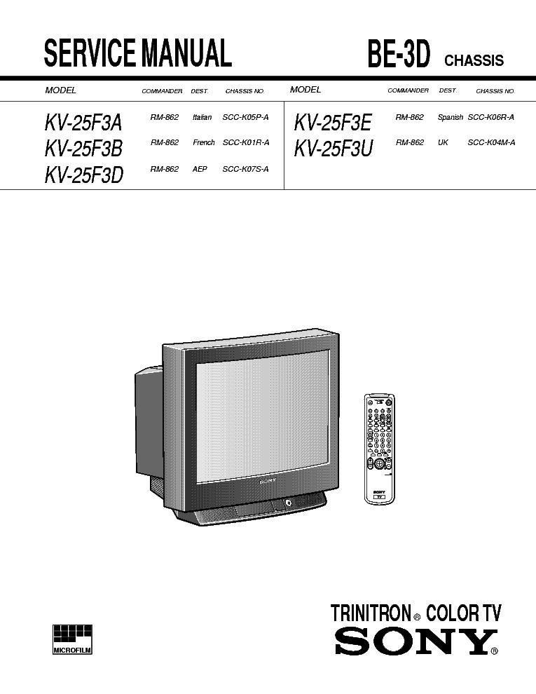 Схема телевизора Sony BE-3D chassis.