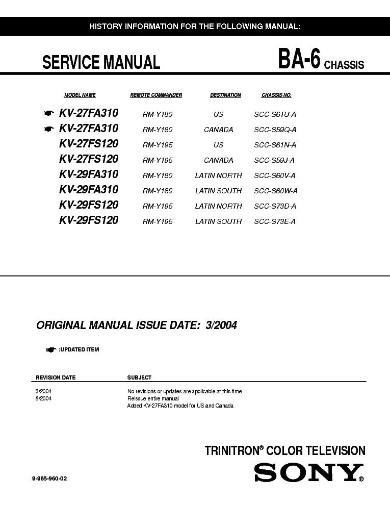 SONY KV 27FS120 CHASSIS BA 6 SM Service Manual download