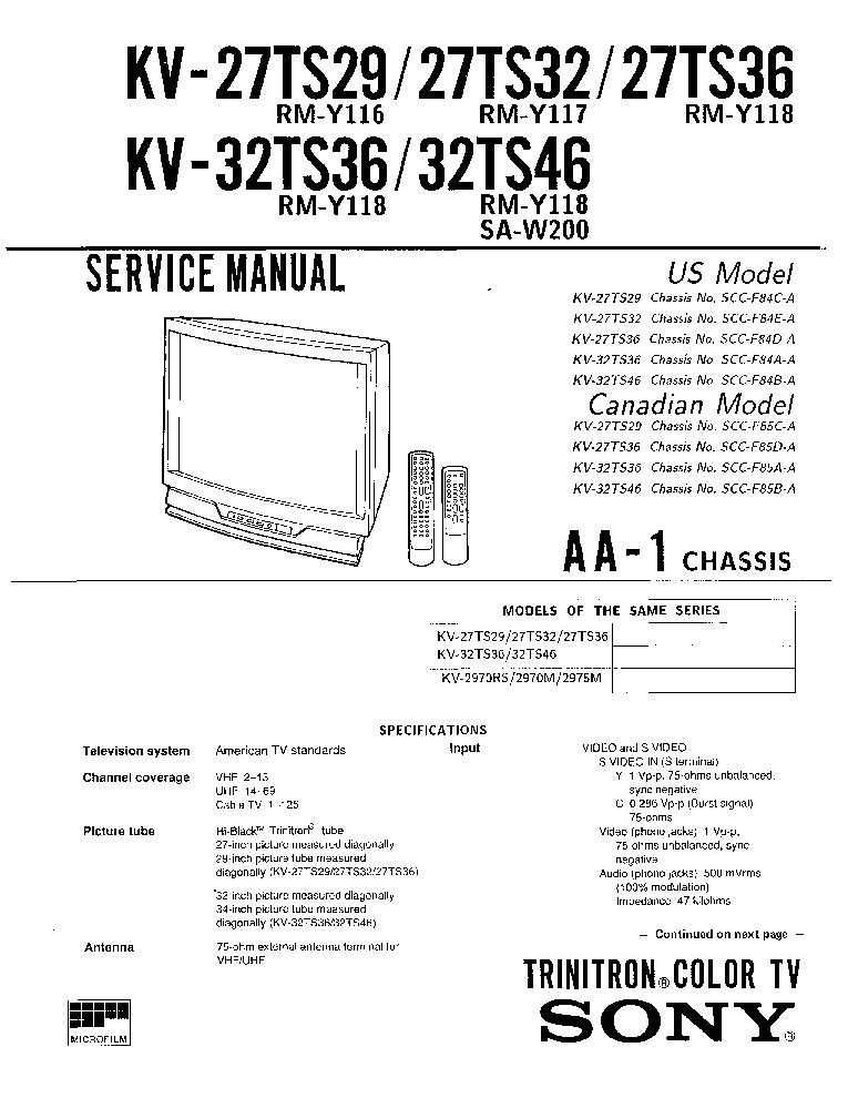 SONY KV-27TS29 KV-27TS32 KV-27TS36 KV-32TS36 KV-32TS46 service manual (1st page)