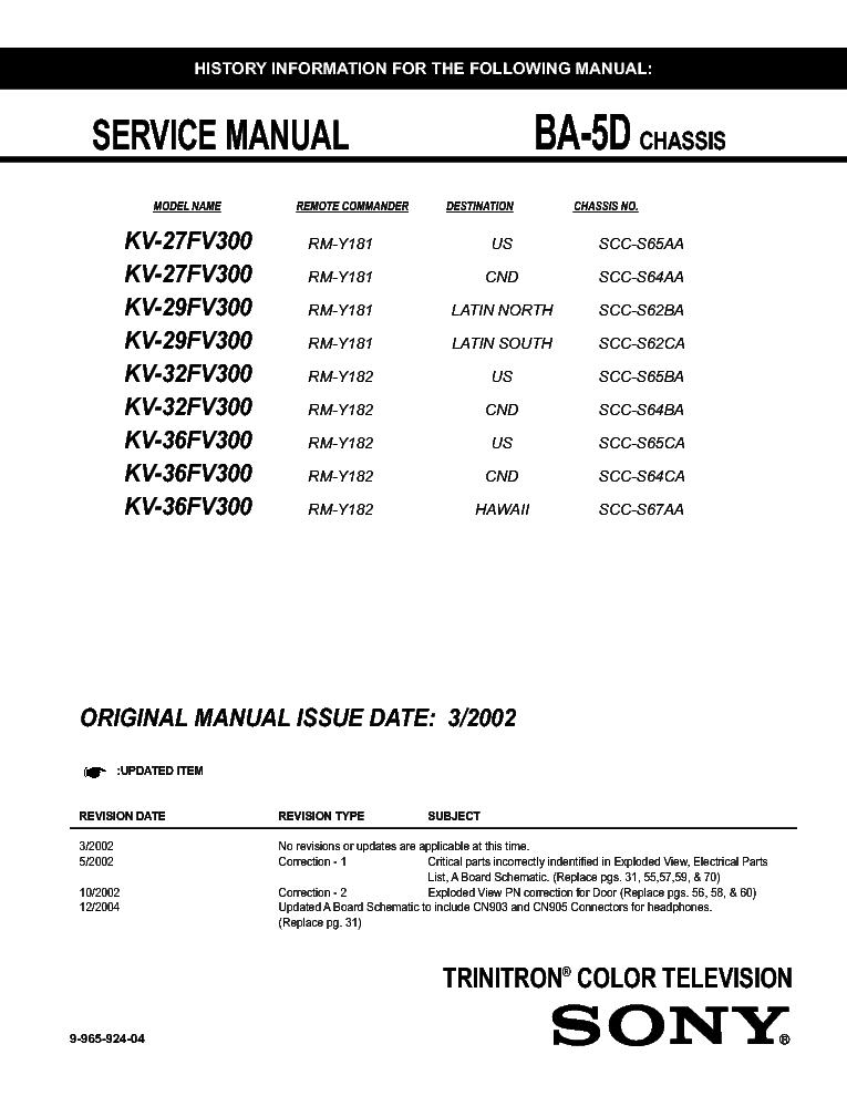 SONY KV-29FV300 service manual