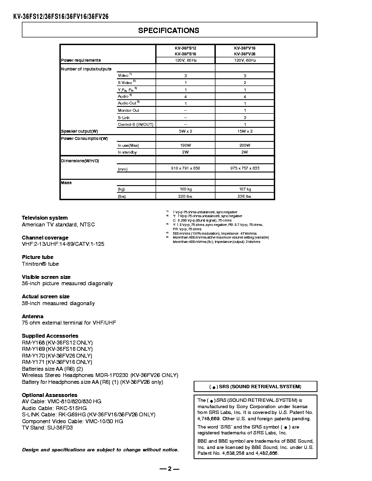 Sony Kv 36fs12 Kv 36fs16 Kv 36fv16 Kv 36fv26 Kv 38fs16 Sm Service Manual Download Schematics Eeprom Repair Info For Electronics Experts