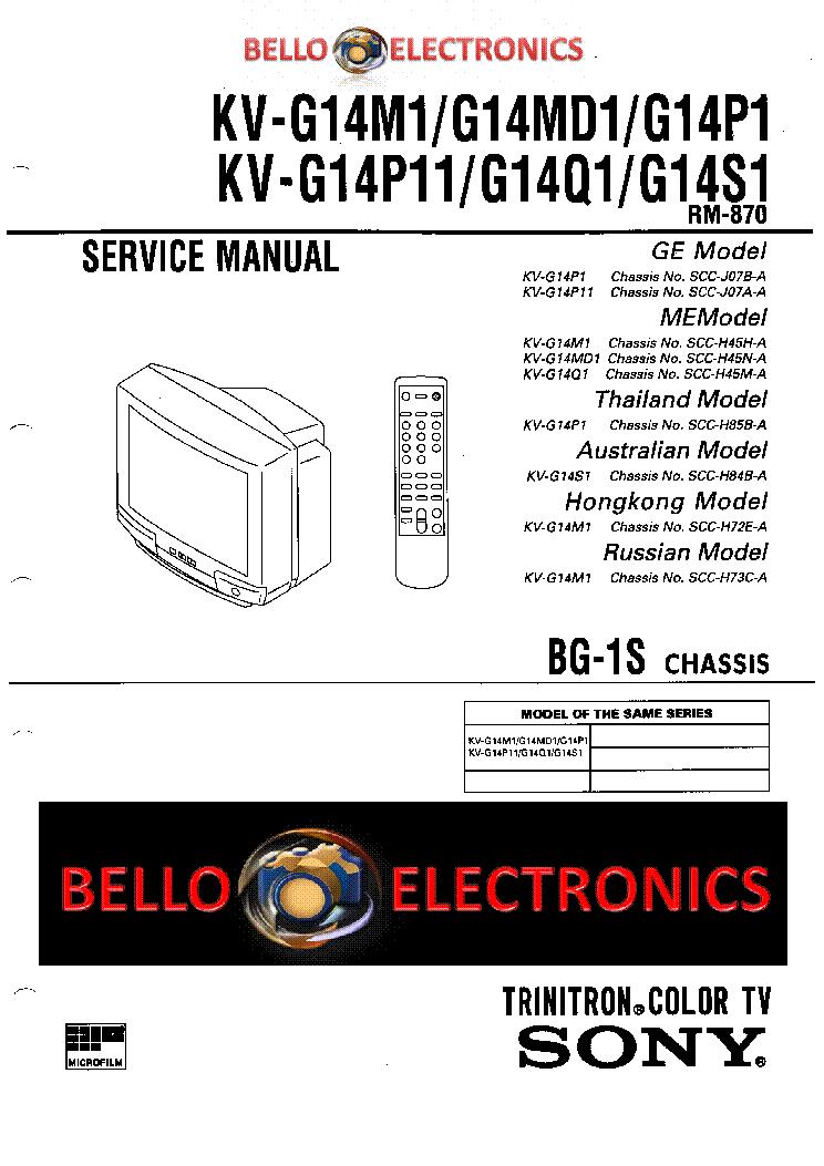 SONY KV-G14M1 service manual