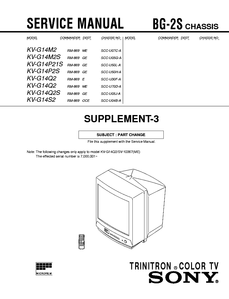 sony kv g14m2 kv g14p2 kv g14q2 kv g14s2 sup3 service manual rh elektrotanya com Sony Smart TV Remote Sony TV Repair Manual