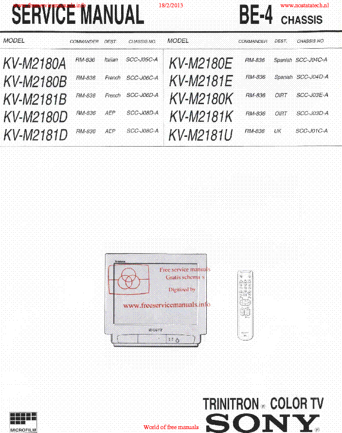 sony kv m2180a b d e k kv m2181d k u chassis be 4 sm service manual rh elektrotanya com