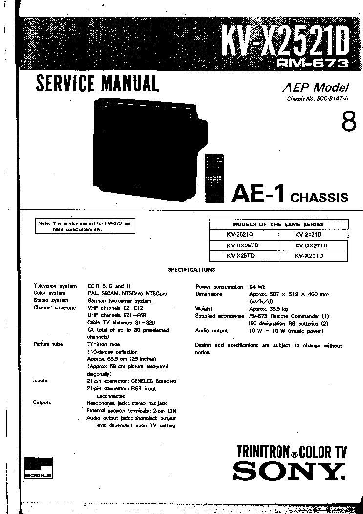SONY KV-X2521 AE1 SM