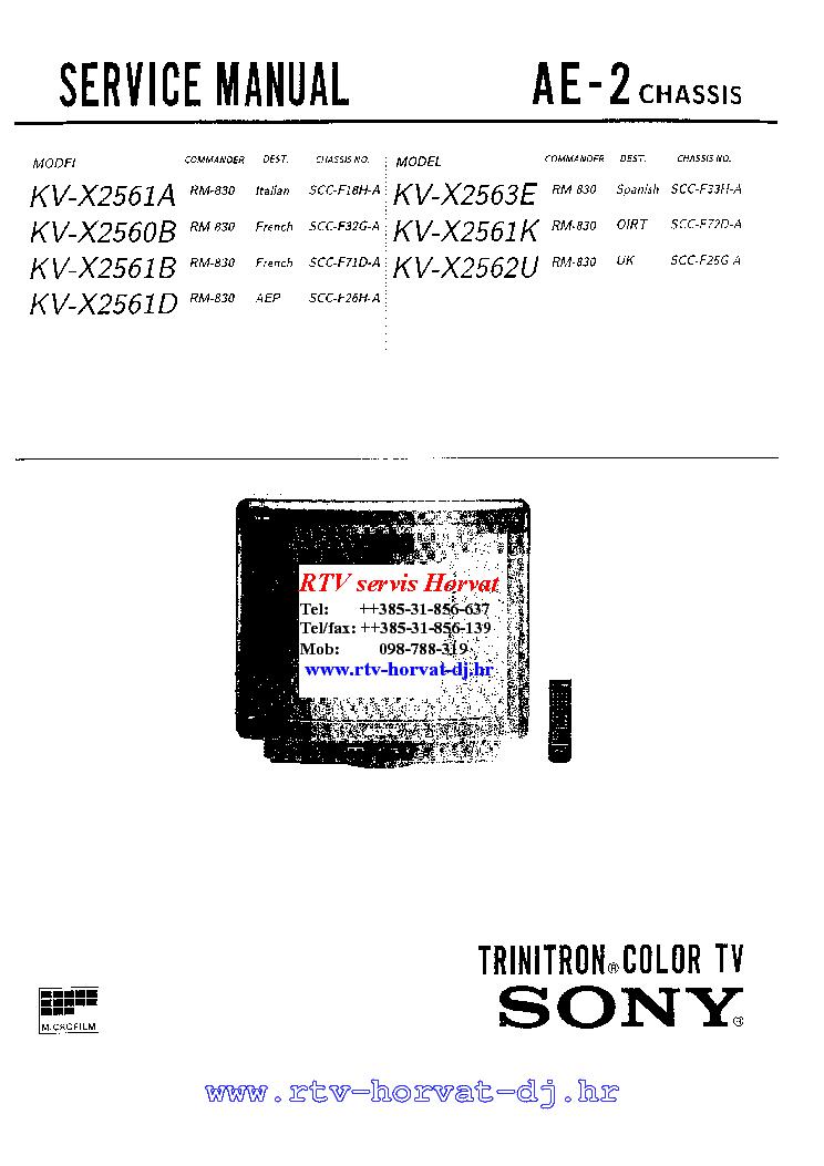 SONY KV-X2561A B D K