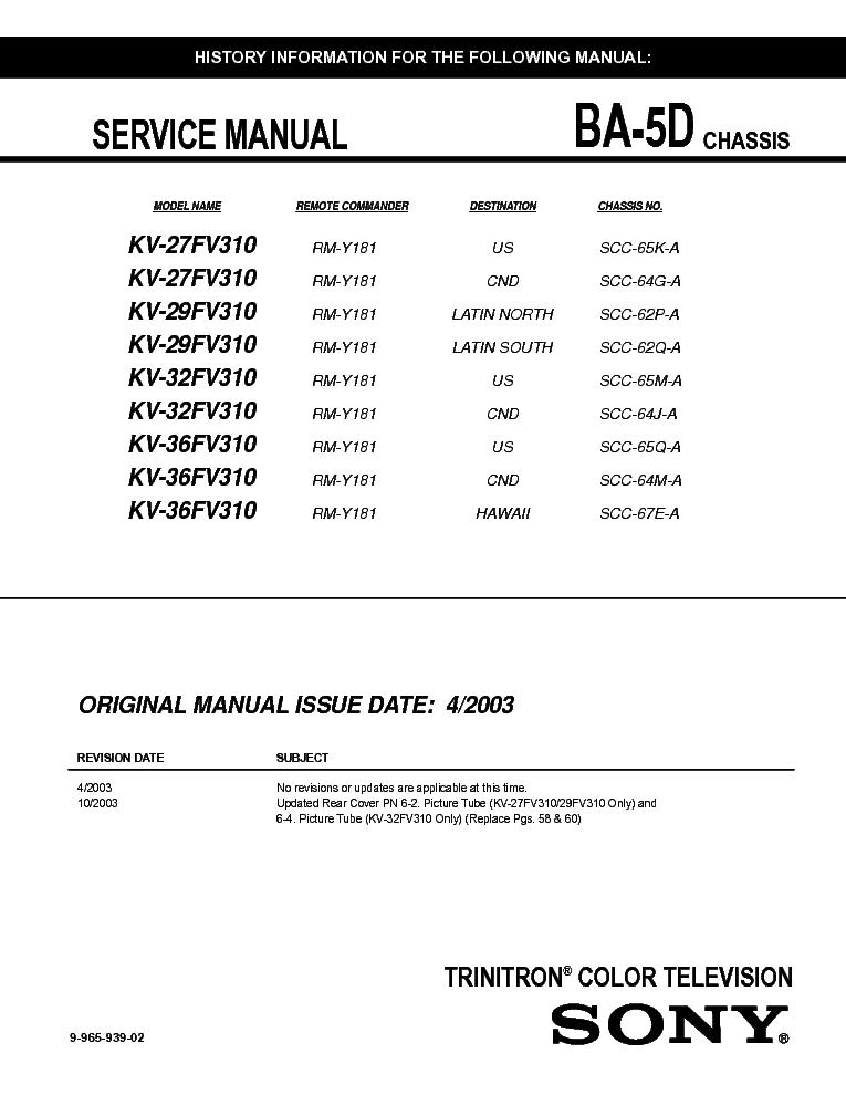 SONY KV 27FV310 29FV310 32FV31