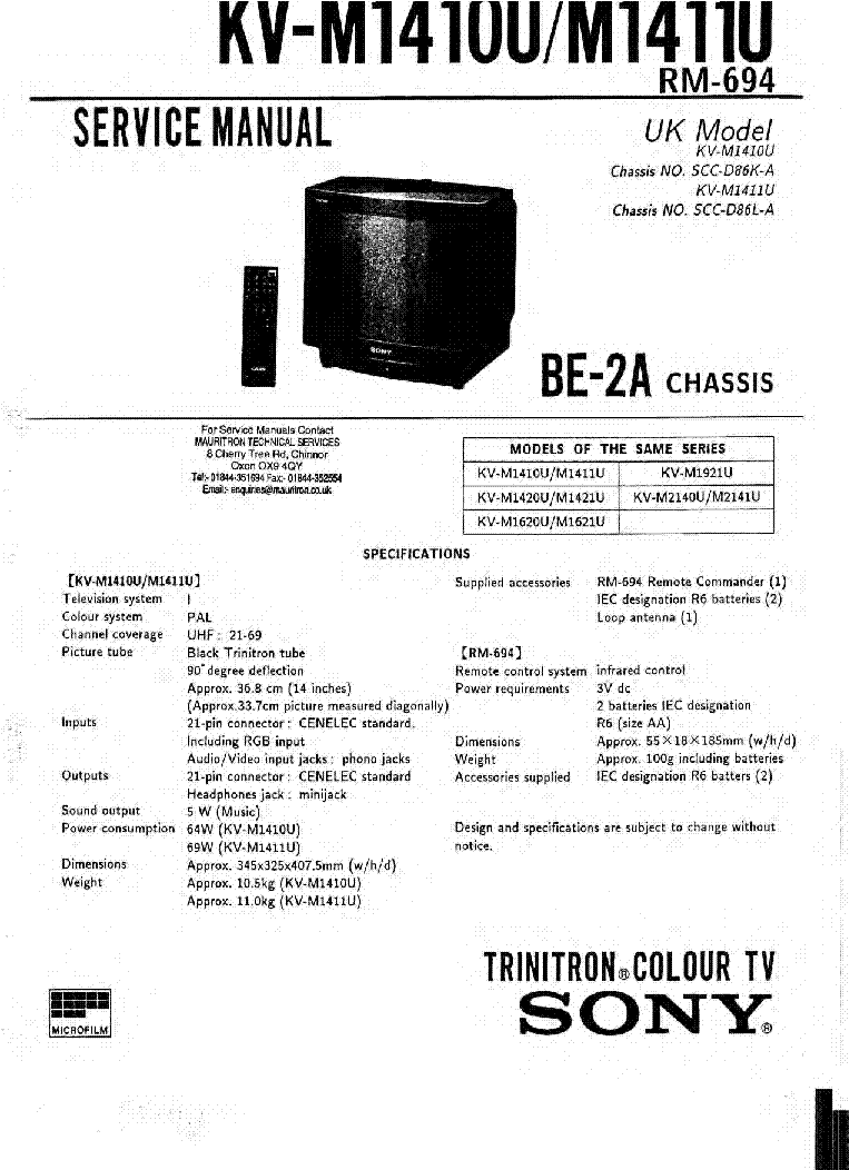 SONY KV M1410 KV M1411 CHASSIS BE 2A service manual (1st page)