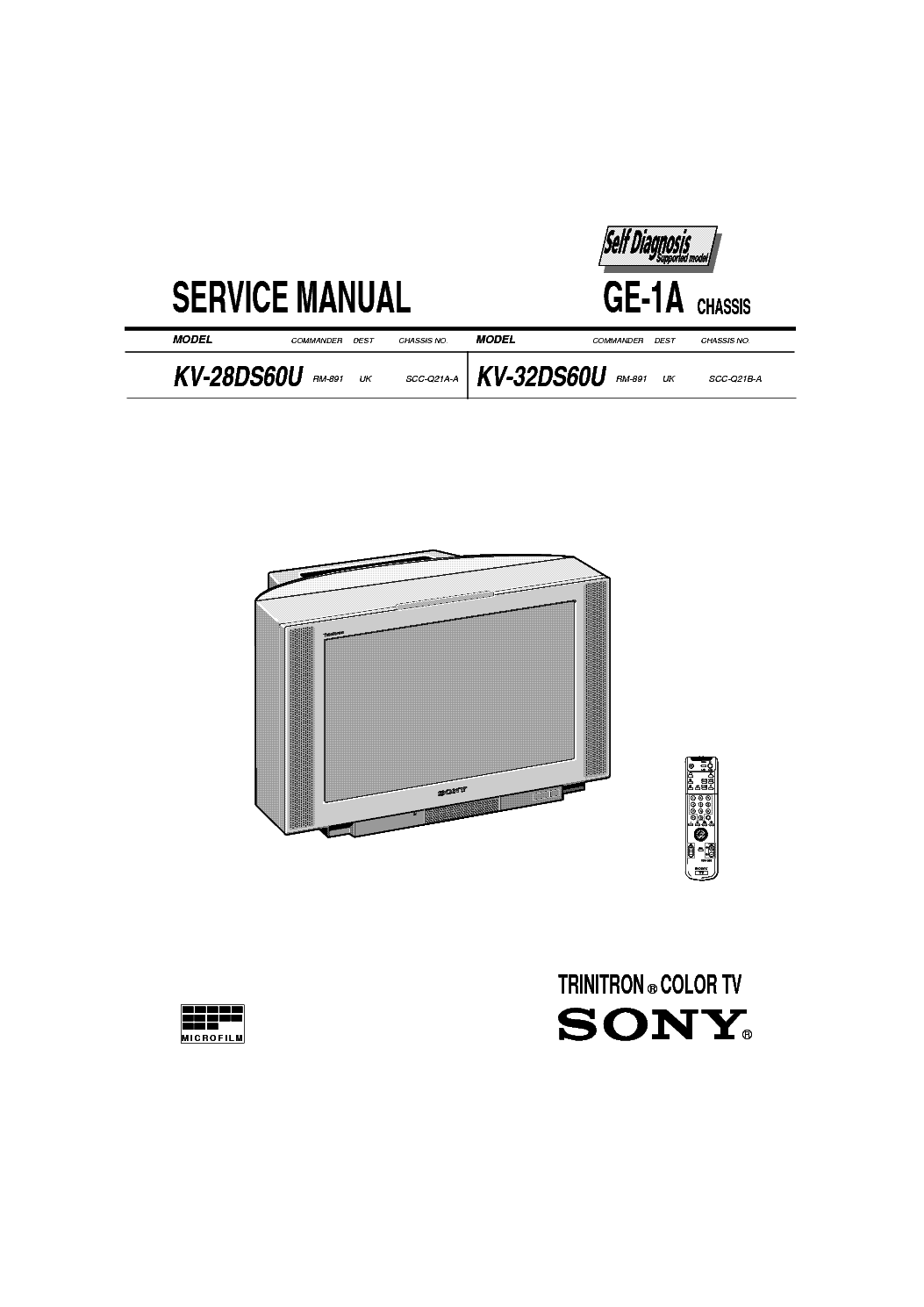 SONY TV KV-28 32DS60-GE-1A CHASSIS SM service manual (1st page)