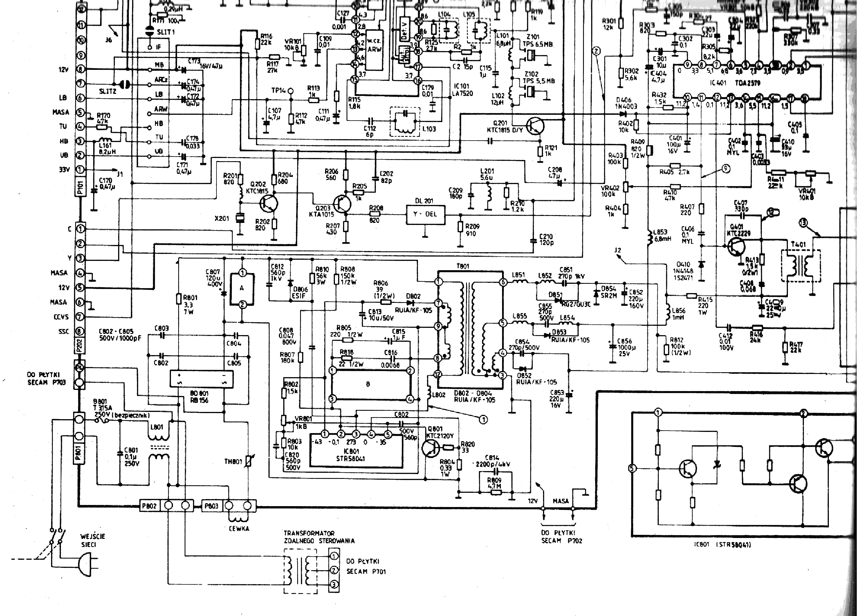 Телевизор supra s-14n8 схема