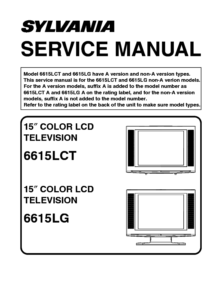 sylvania 6615lct 6615lg l2501ub lcd tv service manual download rh elektrotanya com Manual Book Parts Manual