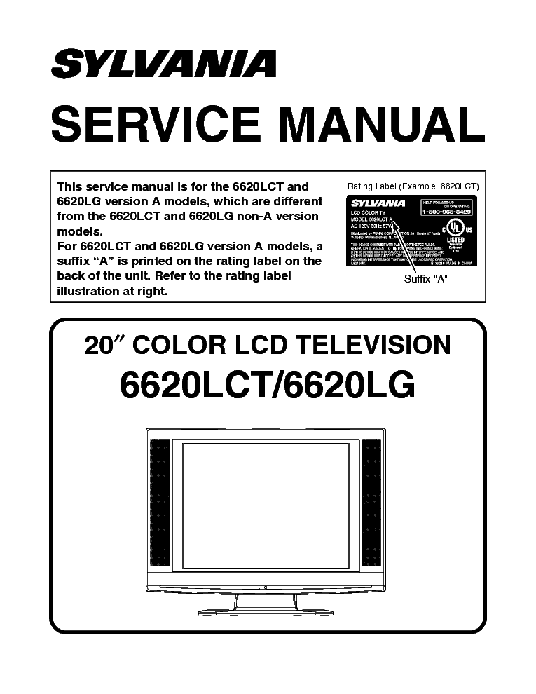SYLVANIA 6620LCT 6620LG LCD service manual (1st page)
